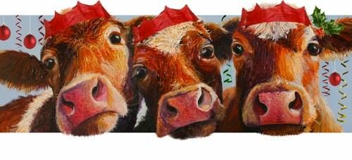 Cow Party Christmas Cards Cows On Canvas