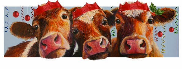 Cow party Christmas cards - Cows on Canvas