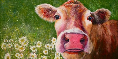 cow painting daisy