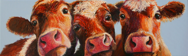 Guernsey Cow Painting Print On Canvas