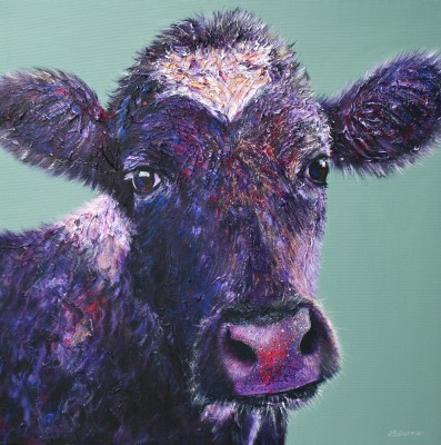 original cow painting - minty