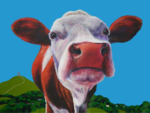 eavis the glastonbury cow painting